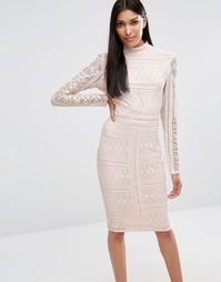 Кружевное платье миди с высоким воротом и длинными рукавами Missguided