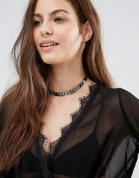 DesignB London Metal Chain Choker - Gunmetal