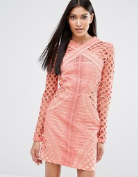 Missguided Long Sleeve Lace Cut Out Dress - Коралловый