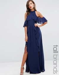 Платье макси с высокой горловиной и оборками TFNC Tall Wedding