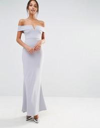 Платье макси из крепа с широкой горловиной и вырезом Missguided