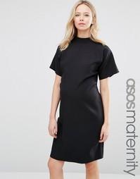 Платье-футляр с высокой горловиной и короткими рукавами ASOS Maternity