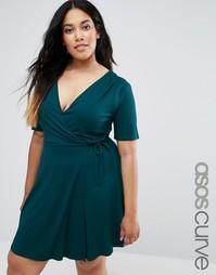 Чайное платье с запахом ASOS CURVE - Темно-зеленый