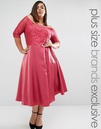кружевное платье миди с пышной юбкой Truly You - Розовый
