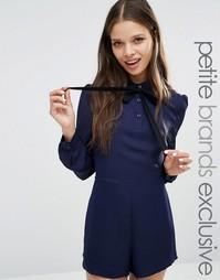 Ромпер с бантиком Fashion Union Petite Diana - Темно-синий