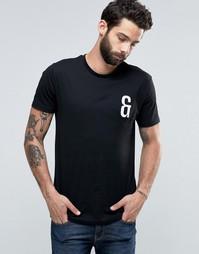 Футболка с круглым вырезом и вышивкой на груди Only & Sons - Черный