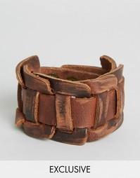 Кожаный браслет-манжета Reclaimed Vintage - Коричневый