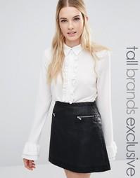 Блузка с рюшами спереди и оборками на манжетах Fashion Union Tall