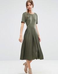 Платье миди со складками ASOS - Хаки