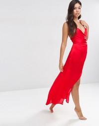 Атласное платье-сорочка макси ASOS - Красно-алый