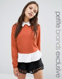 Двухслойная блузка Fashion Union Petite Odin - Красно-бурый