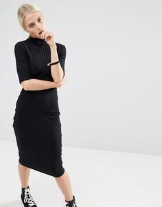 Облегающее платье миди в крупный рубчик с рукавами до локтя ASOS