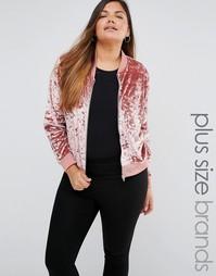 Куртка-пилот из мятого бархата Missguided Plus - Blush