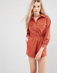 Ромпер-рубашка Love & Other Things - Красно-бурый