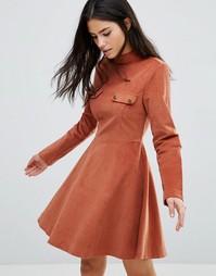 Вельветовое короткое приталенное платье Love & Other Things