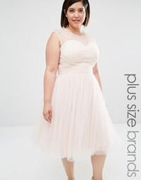 Платье для выпускного с отделкой Little Mistress Plus - Телесный