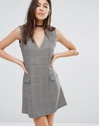 Клетчатое платье-трапеция с карманами Love - Pow