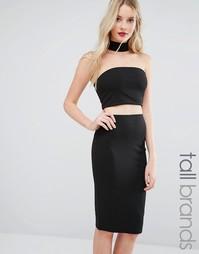 Платье миди с отделкой в стиле ожерелья-чокер Missguided Tall - Черный