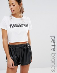 Укороченная футболка с принтом Missguided Petite - Белый