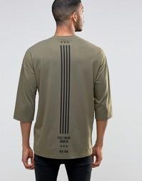 Oversize-футболка с рукавами 3/4 и принтом флага сзади ASOS - Хаки