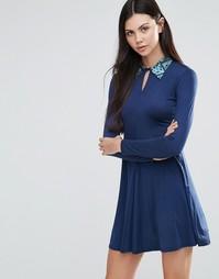 Платье-трапеция с контрастным воротником Love - Темно-синий