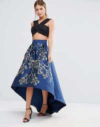 Пышная юбка-премиум миди с золотистой вышивкой Chi Chi London