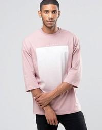 Oversize-футболка с рукавами 3/4 и принтом ASOS - Розовый