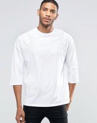 Oversize-футболка с рукавами 3/4 и отделкой лентами ASOS - Белый