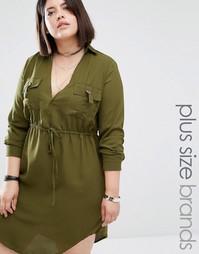 Платье-рубашка с V-образным вырезом и завязкой Missguided Plus - Хаки