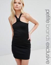 Эксклюзивное облегающее платье в рубчик Missguided Petite - Черный