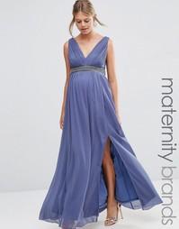 Платье макси для беременных с глубоким декольте и отделкой на талии Li Little Mistress Maternity