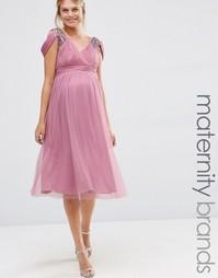 Платье миди с открытыми плечами для беременных Little Mistress Materni