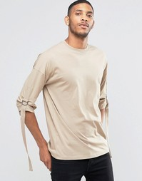 Oversize-футболка с рукавами 3/4 и ремешком ASOS - Бежевый
