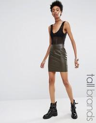 Мини-юбка из искусственной кожи Missguided Tall - Хаки