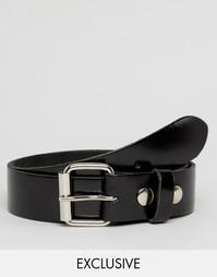 Черный кожаный лакированный ремень Reclaimed Vintage - Черный