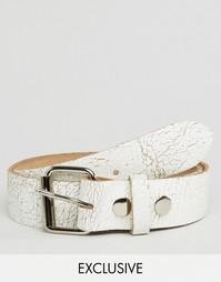 Белый кожаный ремень с потрескавшимся эффектом Reclaimed Vintage