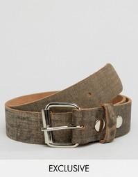 Коричневый кожаный ремень с эффектом потертости Reclaimed Vintage