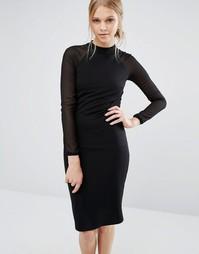 Облегающее платье в рубчик с длинными рукавами Ted Baker Wrenti
