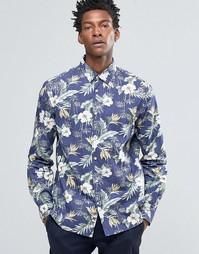 Рубашка зауженного кроя с цветочным принтом Celio - Чернила