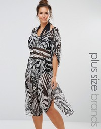 City Chic Curve Animal Print Kaftan - Мульти
