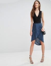 Трикотажная юбка миди с драпировкой спереди Sisley - 35k