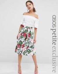 Пышная юбка с цветочным принтом ASOS PETITE - Мульти