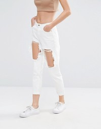 Джинсы с узкими штанинами и вырезами Missguided Riot - Белый