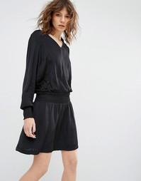 Платье с эластичной талией и манжетами Gestuz Bree - Черный