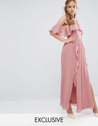 Платье макси с высокой горловиной и оборками TFNC WEDDING