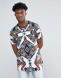 Длинная футболка с принтом калейдоскоп Jaded London - Белый