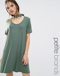 Свободное платье с горловиной‑чокером Boohoo Petite - Хаки