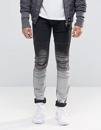 Рваные байкерские джинсы скинни Sixth June - Черный