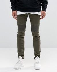 Рваные байкерские джинсы скинни Sixth June - Хаки