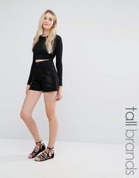 Джинсовые шорты с завышенной талией Vero Moda Tall - Черный
